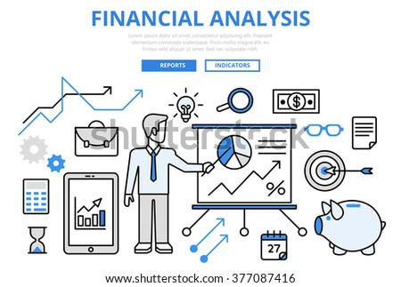 Financial analysis business report finance graphic concept flat line art vector icons. Modern website infographics illustration hero image web banner printed material. Creative lineart collection.