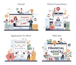 Financial analyst or consultant online service or platform set. Business character making financial operation. Online tutorial, consultation, application, website. Isolated flat vector illustration