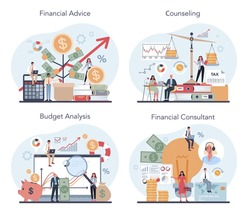 Financial analyst or consultant set. Business character making financial operation. Budget analysis, financial consultant, counseling. Isolated flat vector illustration