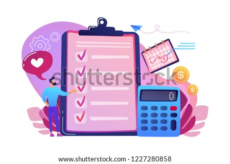 Financial analyst planning at checklist on clipboard, calculator and calendar. Budget planning, balanced budget, company budget management concept. Bright vibrant violet vector isolated illustration