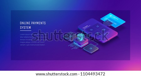 Financial analytics, digital financial services. Phone with a mobile interface of the payment system, money transfers and financial transactions. Vector illustration isometric style.
