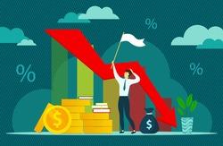 Financial and economic crisis illustration, vector. Coronavirus crisis. Economy stock market crash down. Market fall, Bankruptcy, Budget recession, Investment expenses, Bad economy reduction