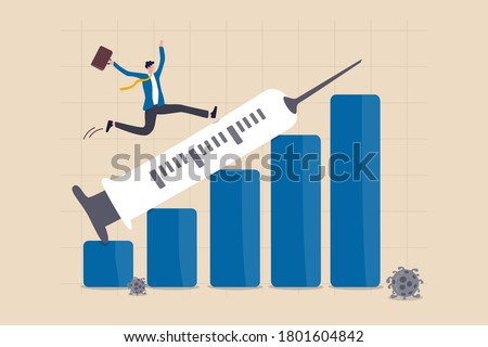 Financial and economic crisis recover from COVID-19 collapse with Coronavirus vaccine discovery concept, businessman investor happy running on syringe pointing up on growth profit financial bar graph.