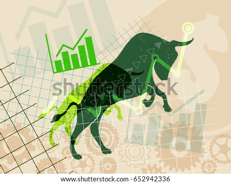 Financial and stock investment market concept. The bull market which rising price of securities are expected.