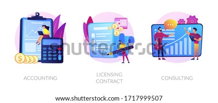 Financial audit and literacy. Financier, banker advising, bookkeeping. Agreement signing. Accounting, licensing contract, consulting metaphors. Vector isolated concept metaphor illustrations