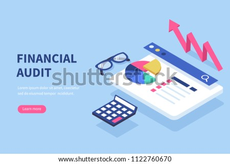 Financial audit business concept. Can use for web banner, infographics, hero images.  Flat isometric vector illustration isolated on white background.