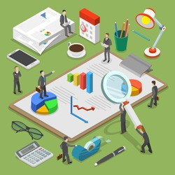 Financial audit flat isometric vector concept. People surrounded by some office stuff are investigating and discussing some financial documents.