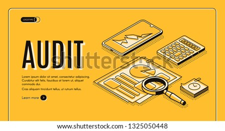 Financial audit online service isometric vector web banner, landing page. Business documents with statistics infographics, stock exchange fluctuation on smartphone screen and calculator illustration