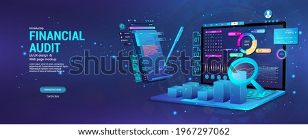 Financial audit web page banner. Modern financial management. Business account tax report, laptop with graphic and charts, documents. Financial audit, business account tax report. Vector Banner