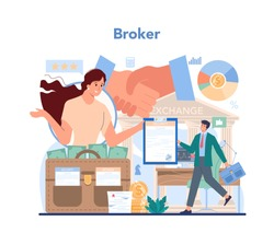 Financial broker. Income, investment and saving. Customer support, analytical service and trust management. Business character making financial operation. Isolated vector illustration