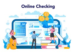 Financial broker online service or platform. Income, investment and saving concept. Business character making financial operation. Checking. Isolated vector illustration