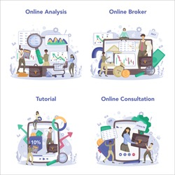 Financial broker online service or platform set. Income, investment and saving. Business character making financial operation. Online broker, analysis, tutorial, consultation. Vector illustration