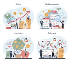 Financial broker set. Market analytics, investment and saving concept. Business character making financial operation. Isolated vector illustration