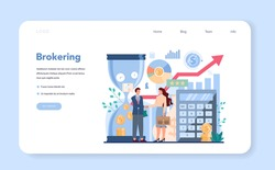 Financial broker web banner or landing page. Income, investment and saving. Customer support and trust management. Business character making financial operation. Isolated vector illustration