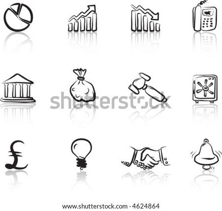 Financial & Business 2 Black & White icons set