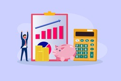 Financial business vector concept. Businessman with rising financial graph, piggy bank, calculator, and money
