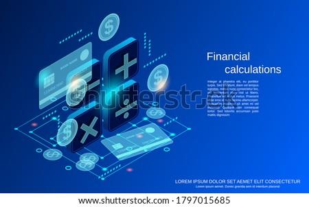 Financial calculations flat 3d isometric vector concept illustration Сток-фото ©