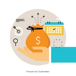 Financial calendar, monthly budget planning flat vector illustration design. Financial planning design for mobile and web graphics