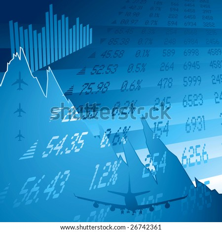 financial chart showing the credit crunch and stock figures - stock vector