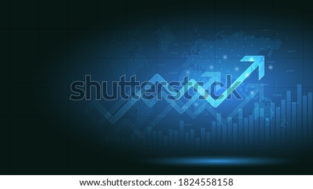 Financial chart with moving up arrow graph and world map in stock market on blue color background