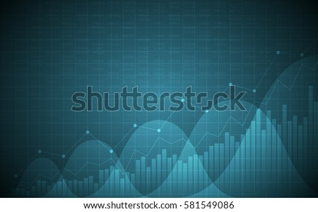 financial chart with uptrend line graph, bar chart and stock numbers in bullish market on gradient blue color background (vector)