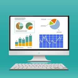 Financial charts and graphs on the computer monitor. Workplace broker. Stock Vector.