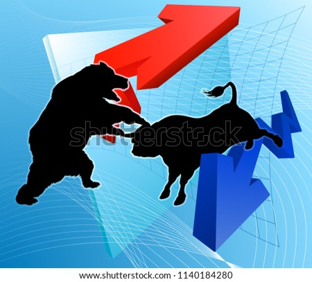 Financial concept of a silhouette bull versus a bear character in front of a stock market profit graph