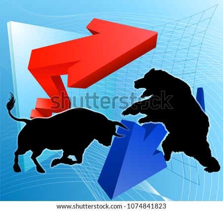 Financial concept of a silhouette bull versus a bear mascot characters in front of a stock market or profit graph