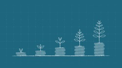 Financial concept with plant growing on stack of coin in chalk Scribble design and blue color background