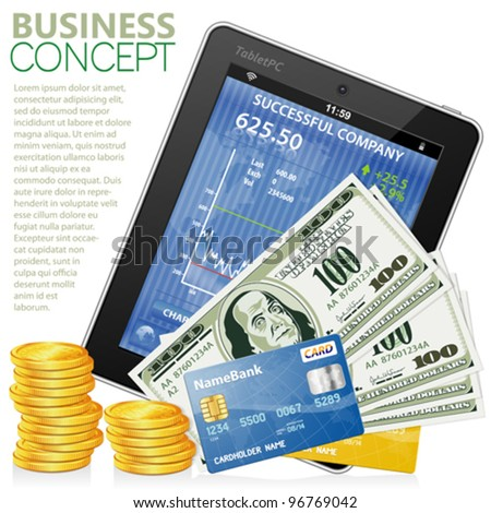 Financial Concept with Tablet PC (Stock Market Application), Dollar Bills, Credit Cards and Coins, vector