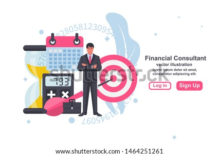 Financial consultant concept. Consultant businessman. Landing page accounting organization process. Vector illustration flat design. Isolated on white background. Market analysis expert.