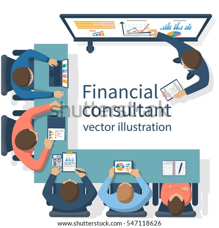 Financial consultant concept. Consultant near blackboard holds training. Businessman at meeting to brainstorm. Accounting organization process, analytics, research, market analysis. Vector flat design