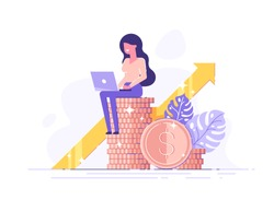 Financial consultant leaning on a stack of coins smiles friendly and waves with hand. Successful investor or entrepreneur. Financial consulting, investment and savings. Modern vector illustration.