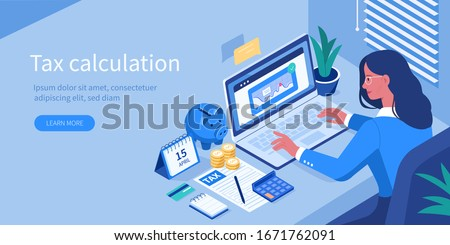 Financial Consultant sitting at Office Desk with  Documents for Tax Calculation. Woman Preparing Financial Tax Report. Accountant  at Work. Accounting Concept. Flat Isometric Vector Illustration.