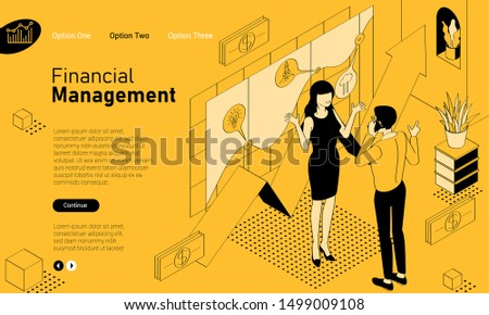 Financial consultations mobile app isometric website template. Black and yellow flat design vector concept for web site and application design and presentation. Home page concept. UI design mockup.