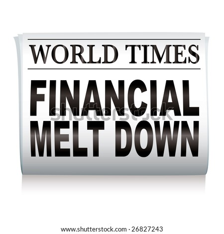 Financial credit crisis newspaper headline on white illustrated paper