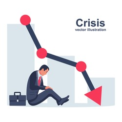 Financial crisis concept. Problem collapse crash. Crying businessman is sitting under falling chart. Loss of income. Capital lost. Cost reduction. Vector flat design. Declining diagram. Down profit.