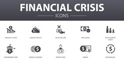 financial crisis simple concept icons set. Contains such icons as budget deficit, Bad loans, Government debt, Refinancing and more, can be used for web, logo, UI/UX