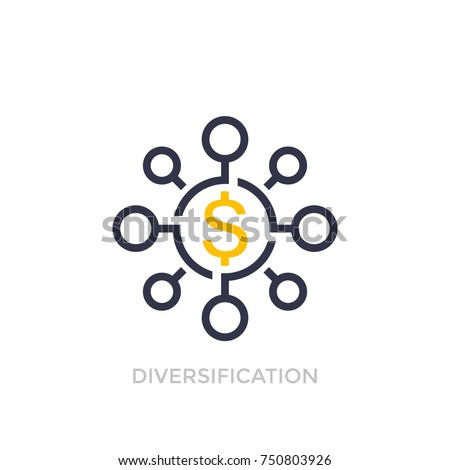 Financial diversification, diversified investment icon Stock photo ©