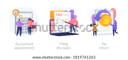 Financial documents and forms, paperwork. Accountant appointment, filing the taxes, tax return metaphors. Calculating obligatory payments. Vector isolated concept metaphor illustrations
