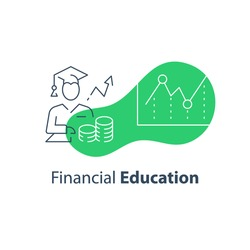 Financial education concept, stock market analysis and investment course, long term strategy adviser, trust management, vector line icon