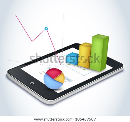 Financial elements on tablet screen