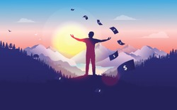 Financial freedom -  man doing a freedom pose at sunset, with beautiful landscape, forest and mountain view, money raining from the sky. Passive income, rich, success concept in vector illustration.