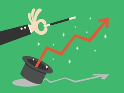 Financial graph flying out of magical hat and hand with magic wand. Growth, income, savings, investment. Symbol of wealth. Business success. Flat style vector illustration.