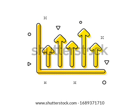 Financial graph sign. Growth chart icon. Upper Arrows symbol. Business investment. Yellow circles pattern. Classic growth chart icon. Geometric elements. Vector