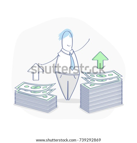 Financial growth, compound interest, added value, financial investments, future income growth, revenue increase, money return or budget management. Cute cartoon man with two with two stacks of money.