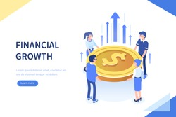 Financial growth concept. Can use for web banner, infographics, hero images. Flat isometric vector illustration isolated on white background.
