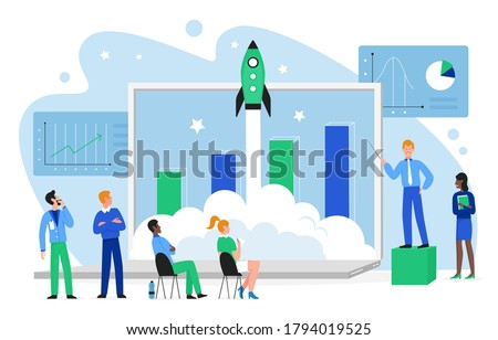 Financial growth concept vector illustration. Cartoon flat business people team launch rocket spaceship into space, work on growing profit chart together, launching finance startup isolated on white