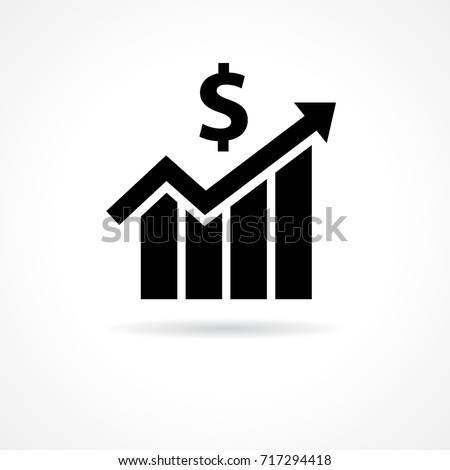 Financial growth icon flat. Financial business progress arrow up and sign dollar icon vector template