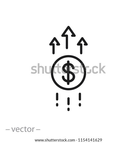 Financial growth icon, linear sign isolated on white background - editable vector illustration eps10 ストックフォト ©